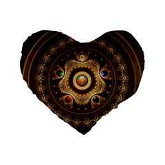 Gathering The Five Fractal Colors Of Magic Standard 16  Premium Flano Heart Shape Cushions by jayaprime