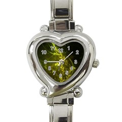 Beautiful Emerald Fairy Ferns In A Fractal Forest Heart Italian Charm Watch by jayaprime