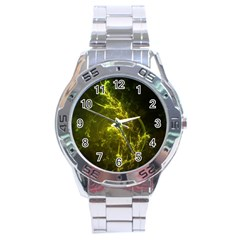 Beautiful Emerald Fairy Ferns In A Fractal Forest Stainless Steel Analogue Watch by beautifulfractals