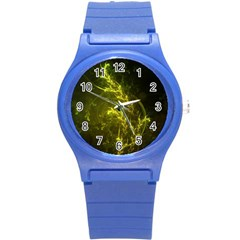 Beautiful Emerald Fairy Ferns In A Fractal Forest Round Plastic Sport Watch (s) by jayaprime