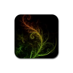 Fractal Hybrid Of Guzmania Tuti Fruitti And Ferns Rubber Square Coaster (4 Pack)  by jayaprime