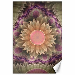 Pastel Pearl Lotus Garden Of Fractal Dahlia Flowers Canvas 20  X 30   by jayaprime