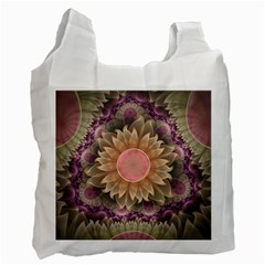 Pastel Pearl Lotus Garden Of Fractal Dahlia Flowers Recycle Bag (two Side)  by beautifulfractals