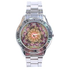 Pastel Pearl Lotus Garden Of Fractal Dahlia Flowers Stainless Steel Analogue Watch by jayaprime