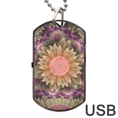Pastel Pearl Lotus Garden Of Fractal Dahlia Flowers Dog Tag Usb Flash (one Side) by jayaprime