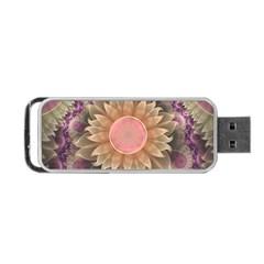 Pastel Pearl Lotus Garden Of Fractal Dahlia Flowers Portable Usb Flash (one Side) by jayaprime