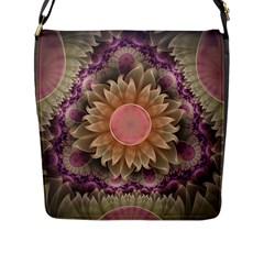 Pastel Pearl Lotus Garden Of Fractal Dahlia Flowers Flap Messenger Bag (l)  by jayaprime