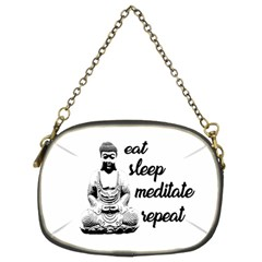 Eat, Sleep, Meditate, Repeat  Chain Purses (two Sides)  by Valentinaart