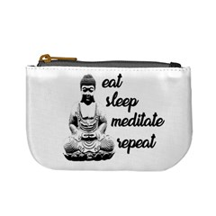 Eat, Sleep, Meditate, Repeat  Mini Coin Purses by Valentinaart