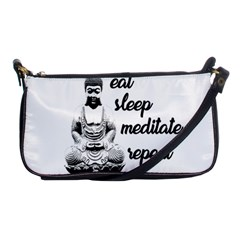 Eat, Sleep, Meditate, Repeat  Shoulder Clutch Bags by Valentinaart