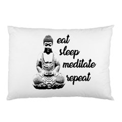 Eat, Sleep, Meditate, Repeat  Pillow Case (two Sides) by Valentinaart