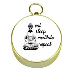 Eat, Sleep, Meditate, Repeat  Gold Compasses by Valentinaart