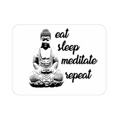 Eat, Sleep, Meditate, Repeat  Double Sided Flano Blanket (mini)  by Valentinaart