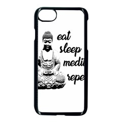Eat, Sleep, Meditate, Repeat  Apple Iphone 7 Seamless Case (black) by Valentinaart