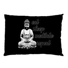 Eat, Sleep, Meditate, Repeat  Pillow Case by Valentinaart