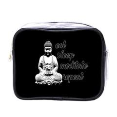 Eat, Sleep, Meditate, Repeat  Mini Toiletries Bags by Valentinaart