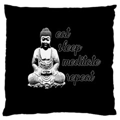Eat, Sleep, Meditate, Repeat  Large Cushion Case (one Side) by Valentinaart