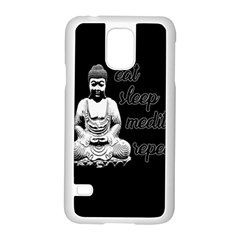 Eat, Sleep, Meditate, Repeat  Samsung Galaxy S5 Case (white) by Valentinaart