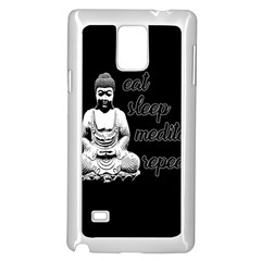 Eat, Sleep, Meditate, Repeat  Samsung Galaxy Note 4 Case (white) by Valentinaart