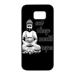 Eat, Sleep, Meditate, Repeat  Samsung Galaxy S7 Edge Black Seamless Case by Valentinaart