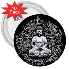 Ornate Buddha 3  Buttons (10 Pack)  by Valentinaart