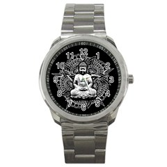 Ornate Buddha Sport Metal Watch by Valentinaart