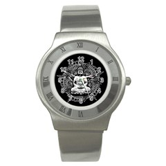 Ornate Buddha Stainless Steel Watch by Valentinaart