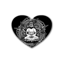 Ornate Buddha Rubber Coaster (heart)  by Valentinaart