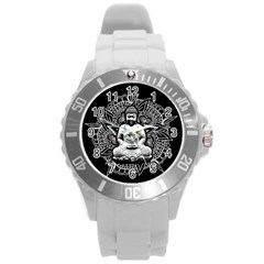 Ornate Buddha Round Plastic Sport Watch (l) by Valentinaart