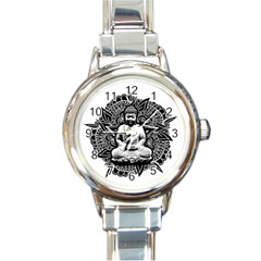 Ornate Buddha Round Italian Charm Watch by Valentinaart