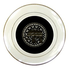 Ornate Mandala Elephant  Porcelain Plates by Valentinaart