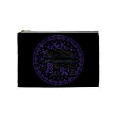 Ornate Mandala Elephant  Cosmetic Bag (medium)  by Valentinaart
