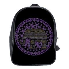 Ornate Mandala Elephant  School Bags(large)  by Valentinaart