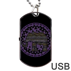 Ornate Mandala Elephant  Dog Tag Usb Flash (two Sides) by Valentinaart