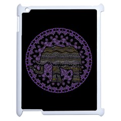 Ornate Mandala Elephant  Apple Ipad 2 Case (white) by Valentinaart