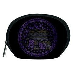 Ornate Mandala Elephant  Accessory Pouches (medium)  by Valentinaart