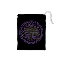 Ornate Mandala Elephant  Drawstring Pouches (small)  by Valentinaart
