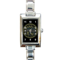 Ornate Mandala Elephant  Rectangle Italian Charm Watch by Valentinaart