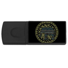 Ornate Mandala Elephant  Usb Flash Drive Rectangular (4 Gb) by Valentinaart