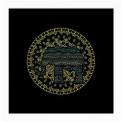 Ornate Mandala Elephant  Medium Glasses Cloth (2 Side) by Valentinaart