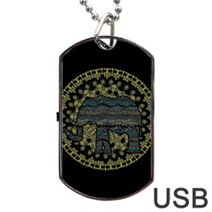 Ornate Mandala Elephant  Dog Tag Usb Flash (one Side) by Valentinaart
