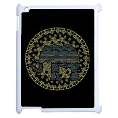 Ornate Mandala Elephant  Apple Ipad 2 Case (white) by Valentinaart