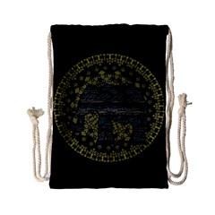 Ornate Mandala Elephant  Drawstring Bag (small) by Valentinaart