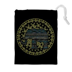 Ornate Mandala Elephant  Drawstring Pouches (extra Large) by Valentinaart