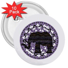 Ornate Mandala Elephant  3  Buttons (10 Pack)  by Valentinaart