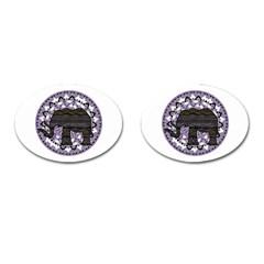 Ornate Mandala Elephant  Cufflinks (oval) by Valentinaart