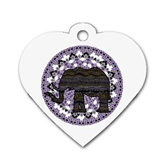Ornate Mandala Elephant  Dog Tag Heart (one Side) by Valentinaart
