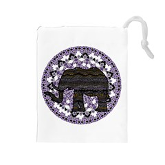 Ornate Mandala Elephant  Drawstring Pouches (large)  by Valentinaart