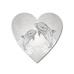 Beautiful Dolphin, Mandala Design Heart Magnet by FantasyWorld7