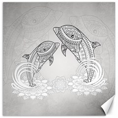 Beautiful Dolphin, Mandala Design Canvas 12  X 12   by FantasyWorld7